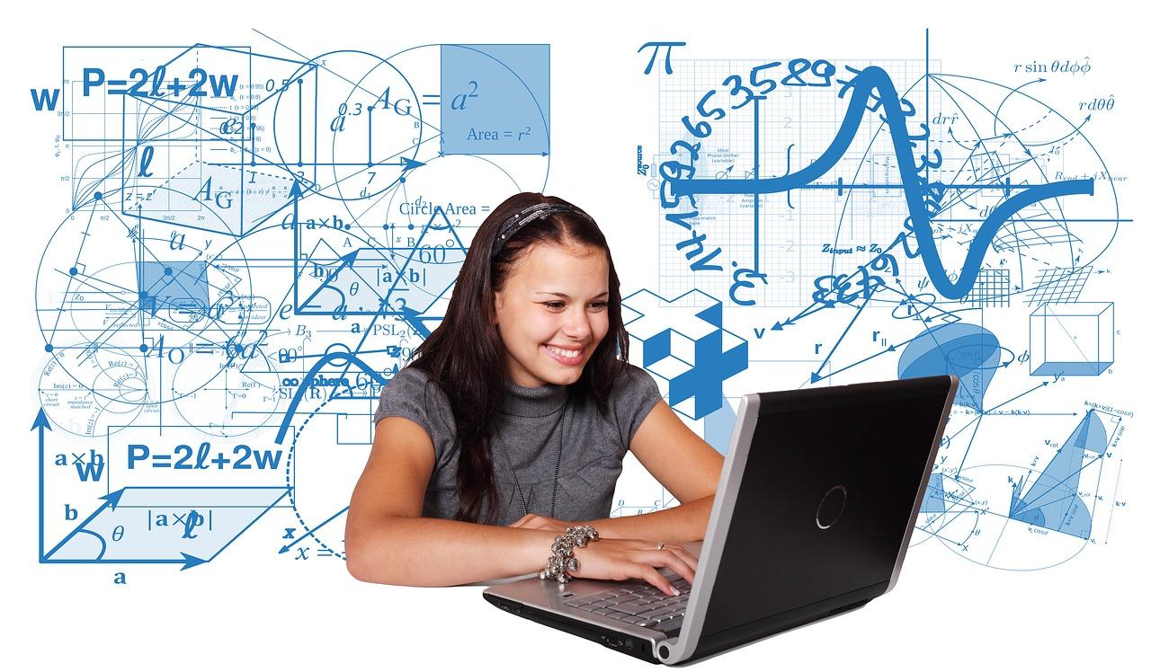Joven, Chica, Computadora, Estudios